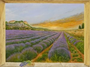 Oil painting Trompe l'oeil effect on lavender field in Provence